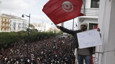 La rue tunisienne le 15 janvier 2011, au lendemain du départ de Ben Ali.