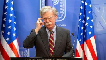 Photo de John Bolton, conseiller à la sécurité nationale du président américain, lors d'une conférence de presse le 22 août 2018 à Jérusalem