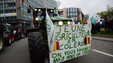 Un jeune agriculteur en colère lors d'une manifestation près du Berlaymont en septembre 2015