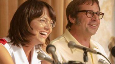 """""""Battle of the Sexes"""" se dévoile avec la première phot d'Emma Stone et Steve Carell en Billie Jean King et Bobby Riggs"""
