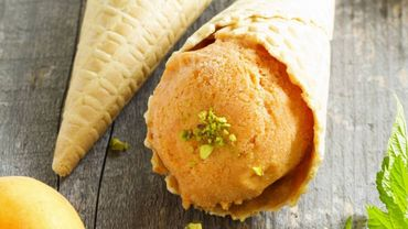 Homemade ice cream from apricots. -