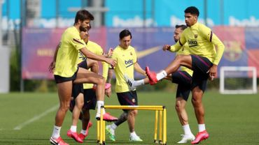 Plusieurs joueurs du Barça à l'entrainement la semaine dernière