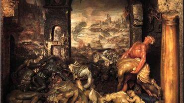 """""""La Peste"""", tableau de cire en relief de Gaetano Zumbo (1656-1701), Florence, Museo della Specola. A droite de la scène, le « monatto », le nettoyeur de rues, progresse parmi les cadavres en décomposition, le nez protégé tant bien que mal par une bande de tissu."""