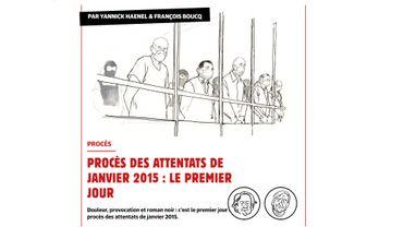 La couverture du procès par le dessinateur François Boucq