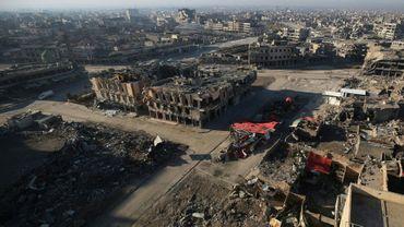 Une vue aérienne de Mossoul, le 8 janvier 2018, six mois après sa reprise par l'armée irakienne au groupe jihadiste Etat islamique