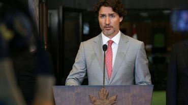 Le Premier ministre canadien Justin Trudeau lors d'une conférence de presse à Ottawa, au Canada, le 30 octobre 2020