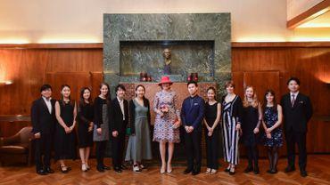 Les 12 lauréats à la Chapelle Musicale Reine Elisabeth en compagnie de la Reine Mathilde