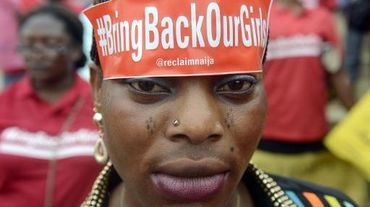 Une femme participe à une manifestation de soutien aux lycéennes enlevées par Boko Haram, le 29 mai 2014 à Lagos