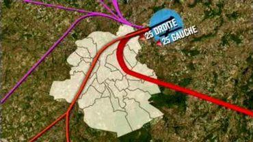 2 avril: retour du virage à gauche resserré (en rouge) et plus grande concentration des vols au dessus de la périphérie est de Bruxelles.