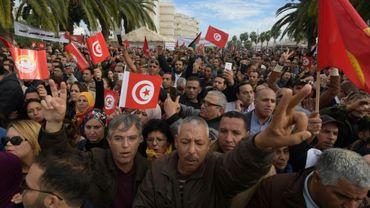 Rassemblement de fonctionnaires à Tunis, en réponse à l'appel à manifester de l'Union générale tunisienne du travail (UGTT), le 22 novembre 2018