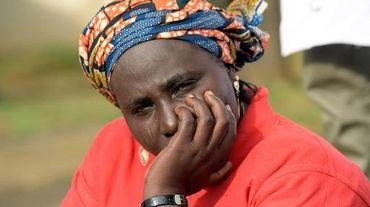 La mère d'une lycéenne enlevée par Boko Haram lors d'une manifestation à Abuja le 14 octobre 2014