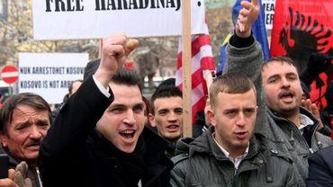 Manifestation devant l'ambassade de France à Tirana le 11 janvier 2017 pour l'ancien Premier ministre du Kosovo Ramush Haradinaj recherché pour crime de guerre et arrêté en France le 4 janvier