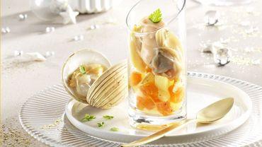 Verrine de praires, pommes de terre et potiron, mayonnaise légère à l'huile de homard