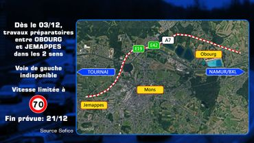 Nouveau chantier sur l'autoroute E42-E19/A7 dans les deux sens entre Obourg et Jemappes