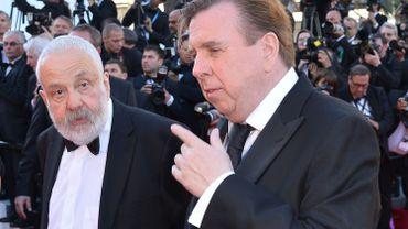 """Mike Leigh et Timothy Spall à Cannes, lors de la présentation de """"Mr Turner"""" en mai 2014"""