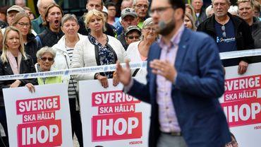 Le patron de l'extrême droite suédoise Jimmie Åkesson, chef des Démocrates de Suède (SD), en campagne à Landskrona (Suède), le 31 août 2018