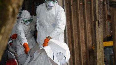 Des membres de la Croix rouge du Liberia portent le corps d'une victime du virus Ebola, le 10 septembre 2014 à Monrovia