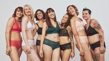 """Les sept muses de la collection """"Yes!"""", première ligne de lingerie post-mastectomie d'Etam."""