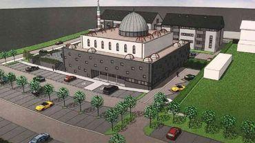 Une vue de la future mosquée et des bâtiments et parkings annexes