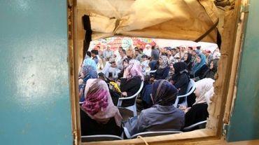 Une réunion des habitants du village de Soussia, au sud de la Cisjordanie, menacé de destruction, le 20 mai 2015