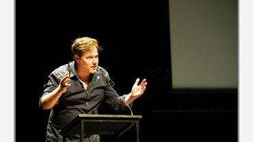 Milo Rau, à la cérémonie de remise des Prix de la Critique, Bruxelles 2016