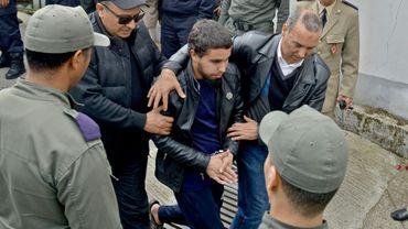 L'un des suspects du meurtres de deux touristes scandinaves arrive au tribunal de Salé, le 2 mai 2019 au Maroc