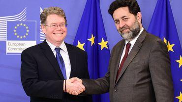 Les négociateurs américain Dan Mullaney et européen Ignacio Garcia Bercero du Partenariat transatlantique pour le commerce et l'investissement (TTIP) se sont retrouvés ce lundi 22 février à Bruxelles.