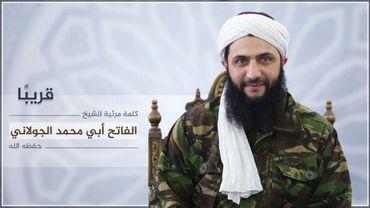 Image fournie le 28 juillet 2016 par le média Al-Manara Al-Baydaa, du chef du Front Al-Nosra, Mohammad al-Joulani dans un endroit non précisé