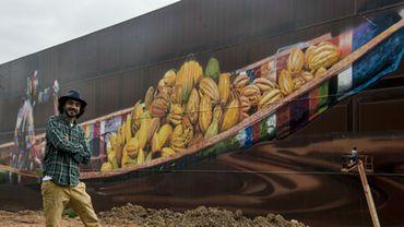 """L'artiste Eduardo Kobra devant """"le plus grand graffiti au monde"""", d'une superficie de près de 6.000 mètres carrés"""