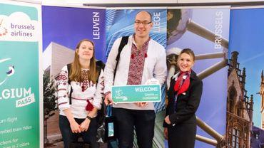 Arrivée à Brussels Airport des premiers touristes avec un Hi Belgium Pass