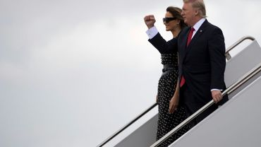 Melania et Donald Trump arrive à Palm Beach en Floride, le 6 avril 2017