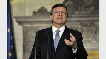 Le président de la Commission européenne Jose Manuel Barroso donne une conférence de presse le 26 juillet 2012 à Athènes