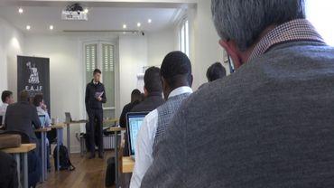 Cours de droit à l'EAJF, l'école des agents de joueurs de football, à Paris
