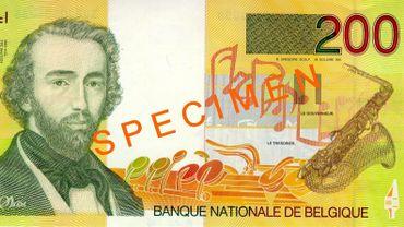 Un billet 200 francs belges (type Sax)