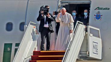 Le pape François avant son départ d'Irak, après trois jours de visite, le 8 mars 2021 à Bagdad