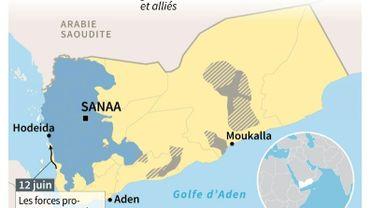 Le contrôle des territoires au Yémen au 12 juin