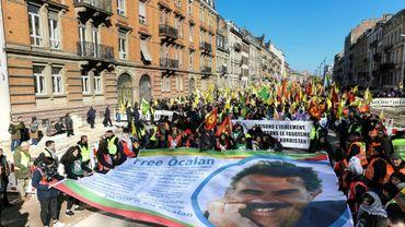 Plusieurs milliers de Kurdes défilent à Strasbourg le 16 février 2019, pour réclamer la libération de leur chef historique Abdullah Öcalan, arrêté il y a vingt ans et emprisonné en Turquie