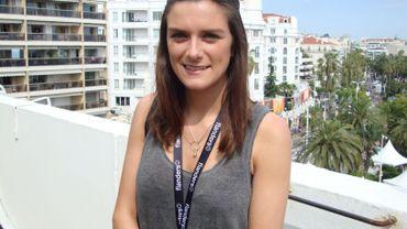 Emilie Verhamme sur une terrasse du Palais des Festivals à Cannes