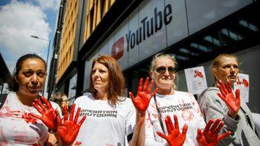 Manifestation devant les locaux de YouTube à Londres, le 10 mai 2019