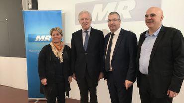 Les quatre têtes de liste du MR en province de Liège: de gauche à droite, Caroline Cassart Daniel Bacquelaine, Pierre-Yves Jeholet et Philippe Dodrimont