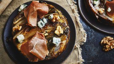 Tartelettes tatins chicons-roquefort au jambon Serrano