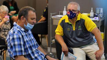 Le Premier ministre australien Scott Morrison (à droite) s'entretient avec d'autres vaccinés