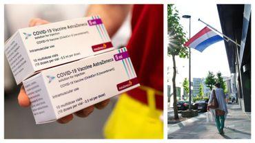 Vaccin astraZeneca (2 avril 2021) et drapeau des Pays-Bas (illustrations)