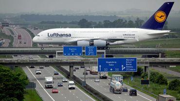 Un A380 de Lufthansa à Leipzig.