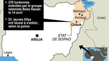 Carte de localisation de Chibok, au Nigeria, où 276 lycéennes ont été enlevées le 14 avril 2014 par les islamistes de Boko Haram