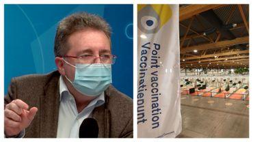 """Rudi Vervoort, le ministre-président bruxellois (PS) dans """"Matin Première"""" ce 1er mars et centre de vaccination du Heysel, le 16 février 2021"""