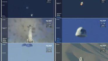 Photos du vol d'essai de la fusée New Shepard de Blue Origin, le 23 janvier 2019, à partir de la retransmission vidéo de la mission