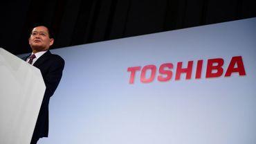 Le PDG de Toshiba Nobuaki Kurumatani, lors d'une conférence de presse à Tokyo, le 8 novembre 2018