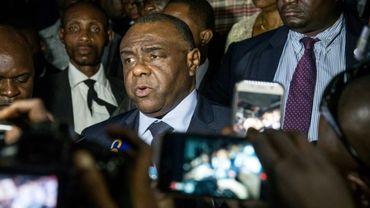 L'opposant congolais Jean-Pierre Bemba s'adresse à la presse le 2 août 2018 à Kinshasa.
