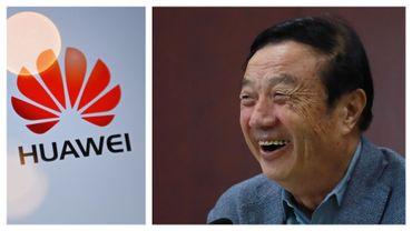 Le fondateur de Huawei, Ren Zhengfei lors d'un point presse à Taiyuan, le 9 février 2021